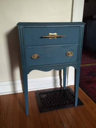 Blue sewing table